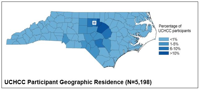 Map displaying geographic residence of cohort participants