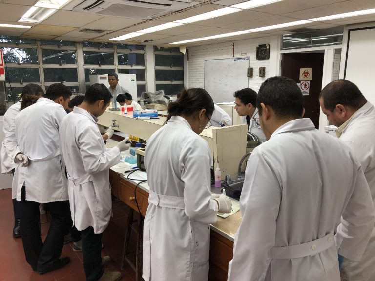 students work in lab in white coats