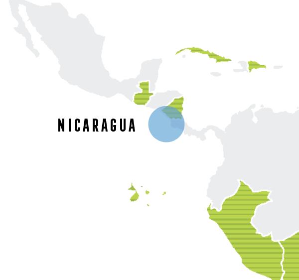 outline map highlighting nicaragua