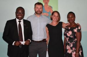 group shot of 4 people at Malawi hospital