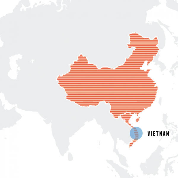 map of china and vietnam outlined