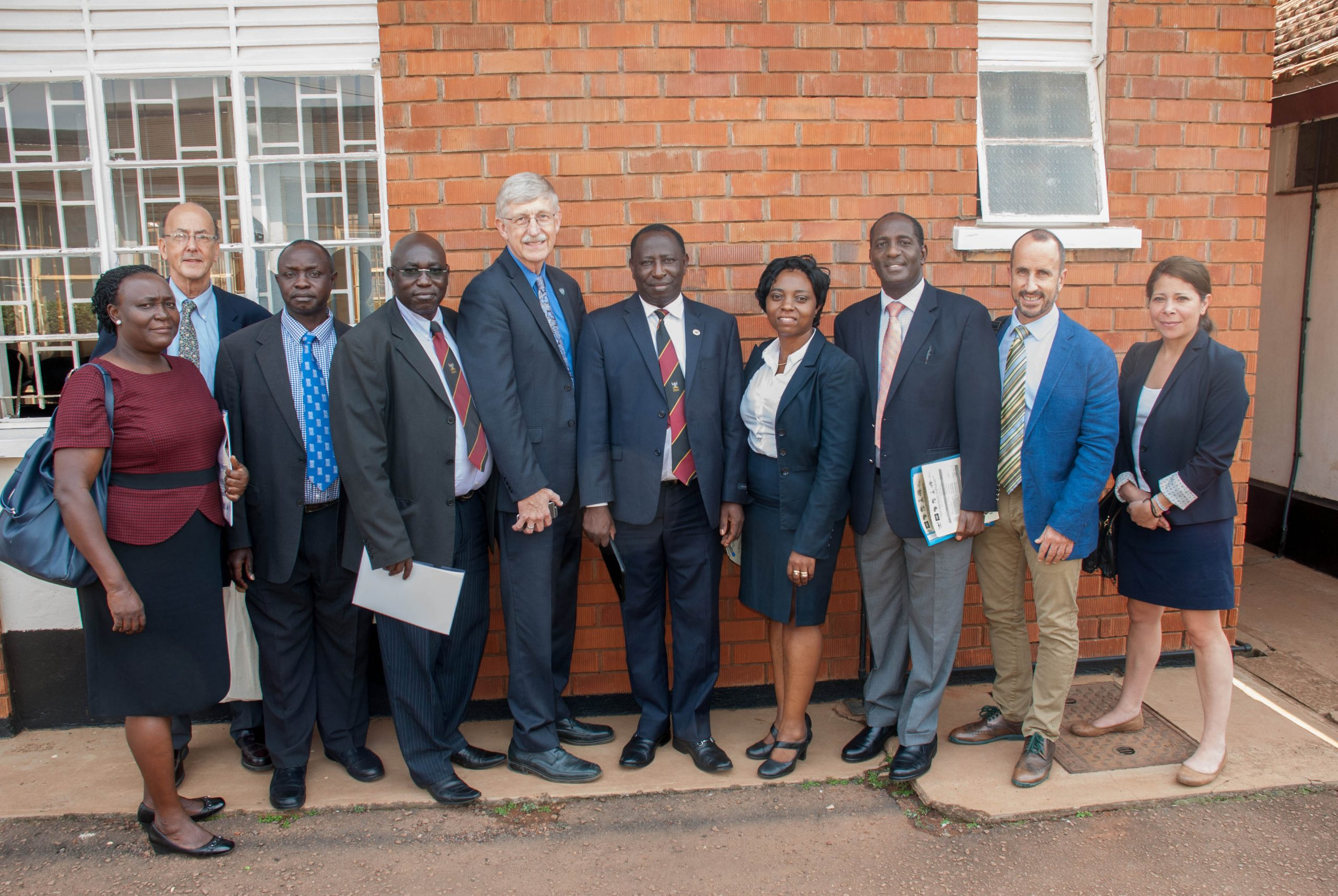 Trainees with colleagues in Uganda