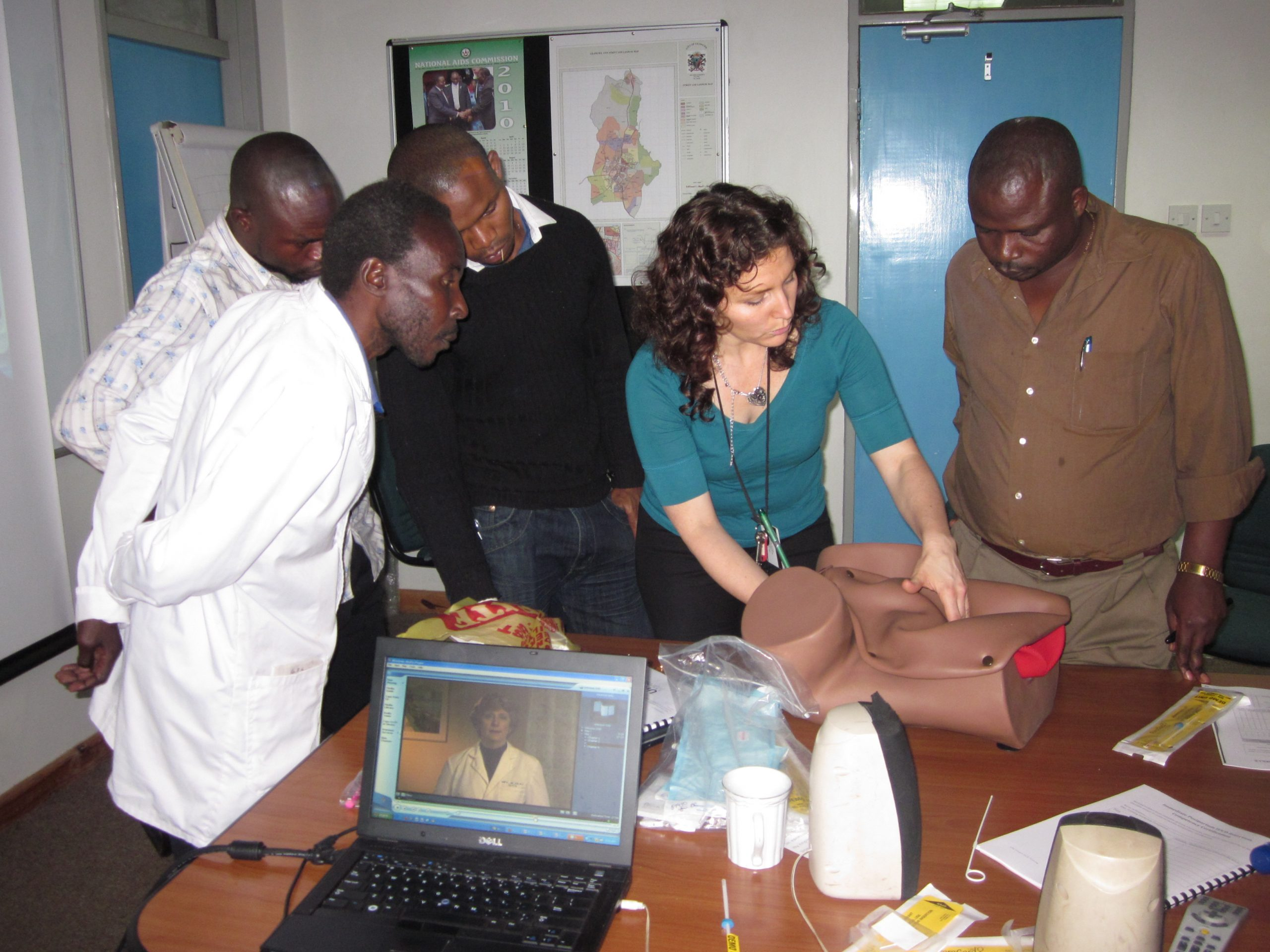 Training nurses and medical officers at UNC Project Malawi in the proper way to insert an IUCD