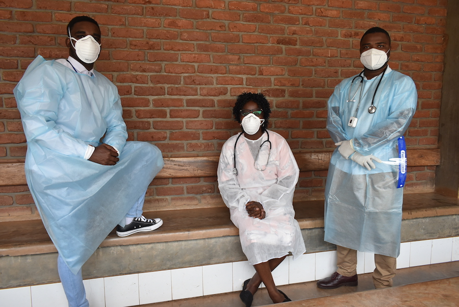 three Malawi colleagues in PPE