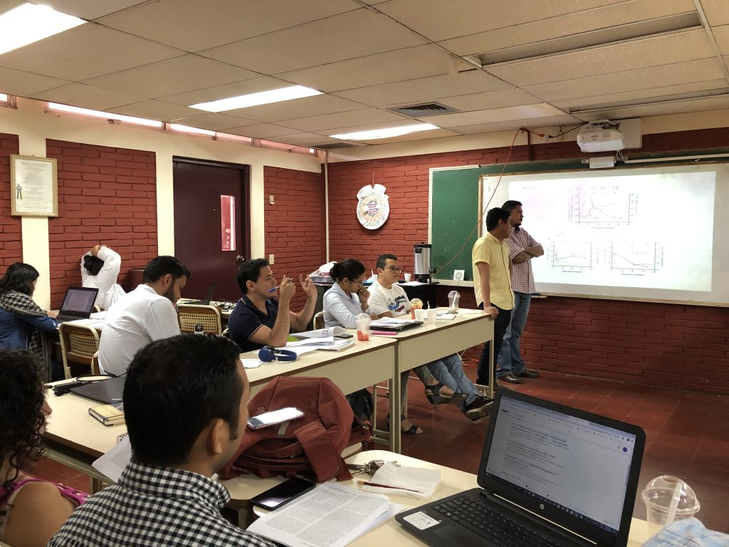 Trainees at UNAN in Nicaragua in didactic sessions as a part of the NEED D43 Program